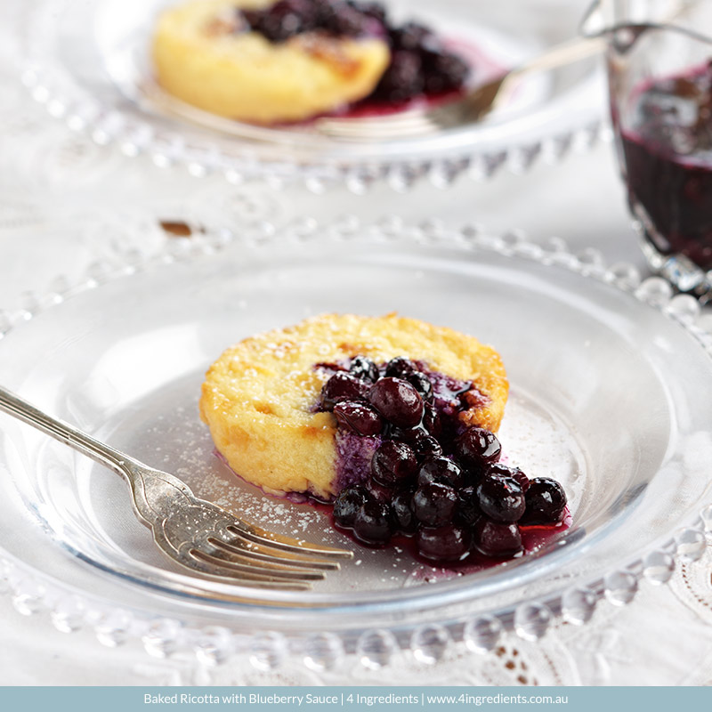 Baked Ricotta with Blueberry Sauce   4 Ingredients