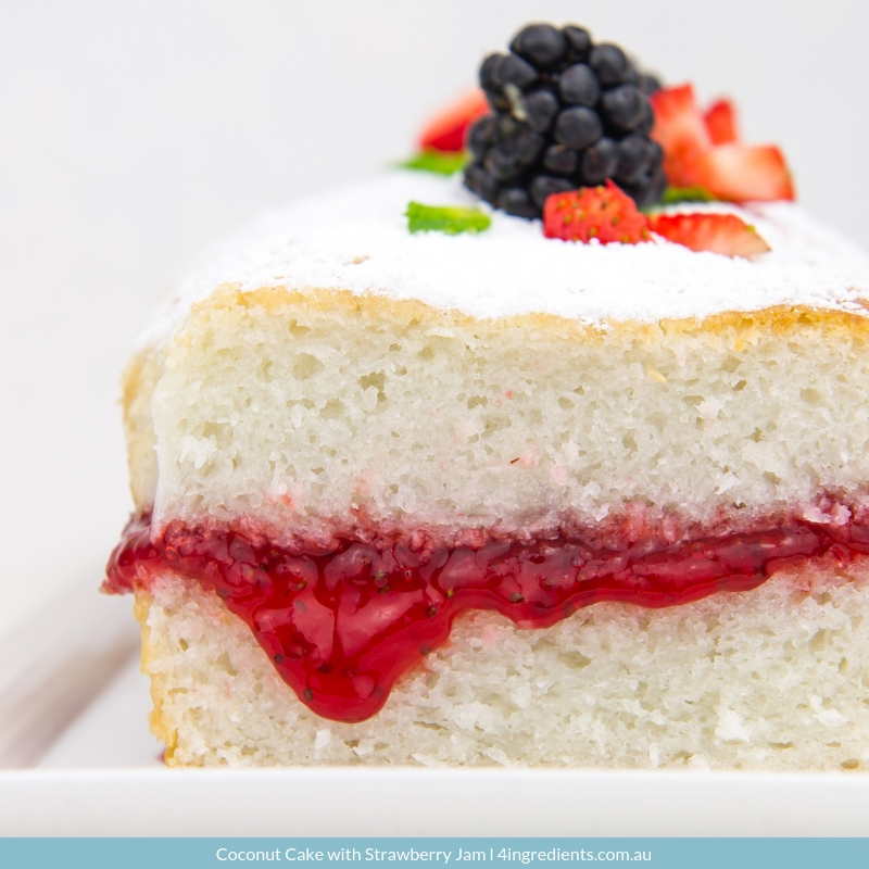 Coconut Cake with Strawberry Jam