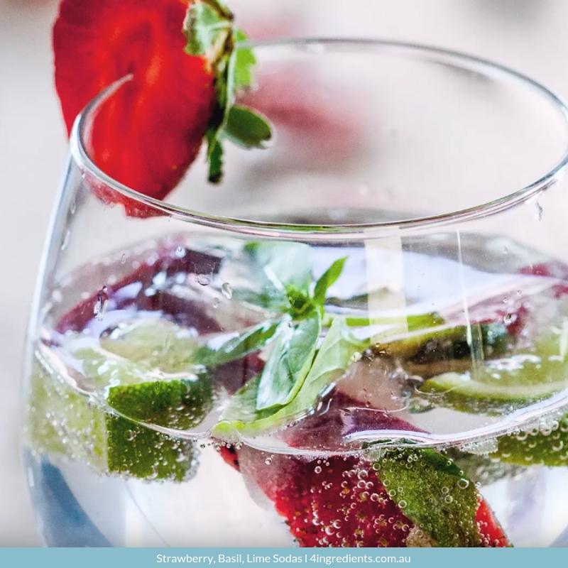 Strawberry, Basil, Lime Sodas