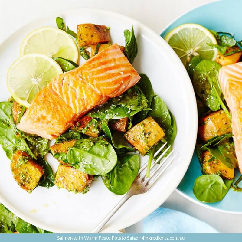 Salmon with Warm Pesto Potato Salad