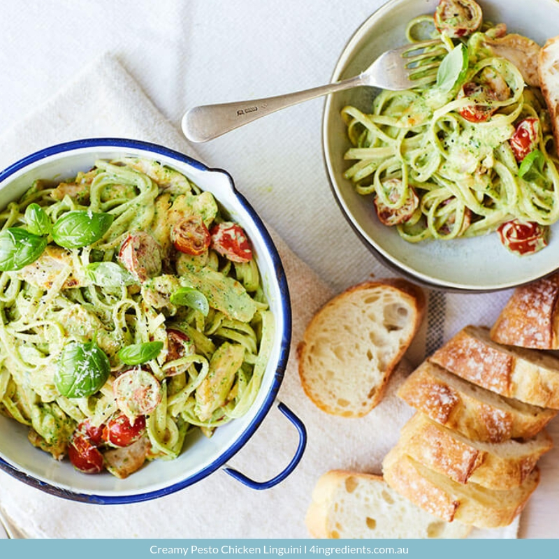 Creamy Pesto Chicken Linguini easy lunch