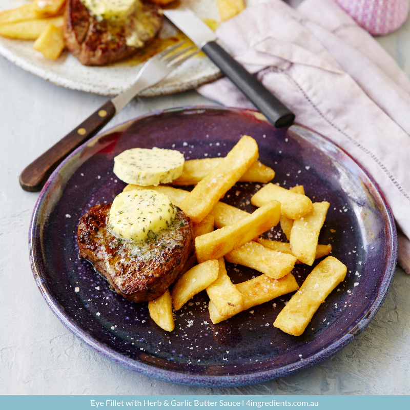 Eye fillet with garlic butter