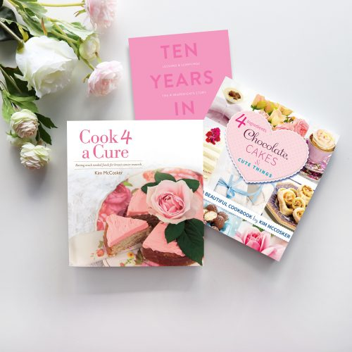 """Pretty in Pink"" Bundle (4 Ingredients Cook 4 A Cure, 4 Ingredients Chocolate, Cakes & Cute Things + 10 Years In)"