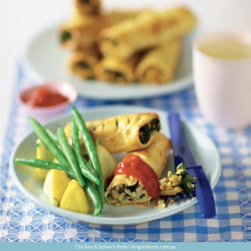 4ING l Recipe Image l Chicken & Spinach Rolls - school lunches