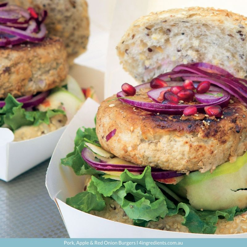 4ING l Recipe Image l Pork, Apple & Red Onion Burgers
